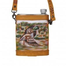 Flachmann Lederüberzug handbemalt Ente